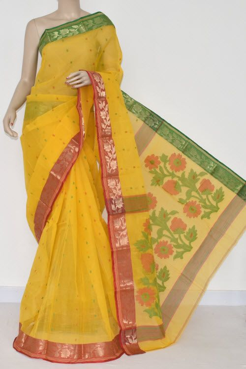 Golden Yellow Handwoven Bengal Tant Cotton Saree (Without Blouse) Ganga yamuna Border 14025