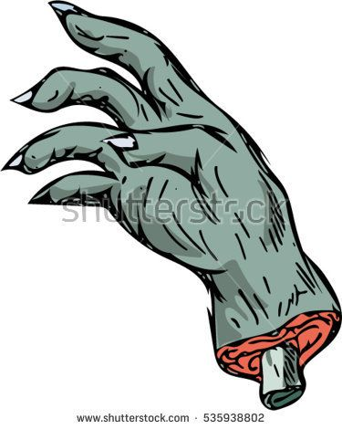 Drawing sketch style illustration of a zombie monster hand with bone sticking out set on isolated white background.  #hand #sketch #illustration