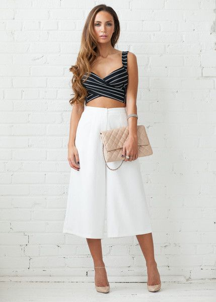 COVETED LOOK - Girl Meets Boy   Featured: Olivia Embossed Culottes in white & Harper Stripe Wrap Crop in black & white www.covetedbasics.com