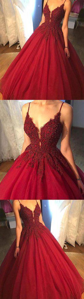 2018 v neck tulle lace long prom dress, cheap evening dress,PD21003  #seoydress #promdresses #fashion #shopping #prom #dresses #eveningdresses