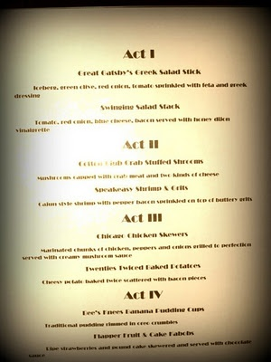 Great Gatsby party menu