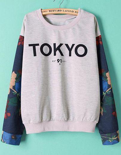 TOKYO Print Loose Grey Sweatshirt 22.50