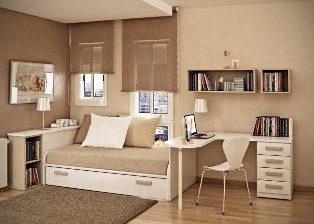 taupe beige kids room with brown bed unit pillow white computer desk kids chair and venetian window blind