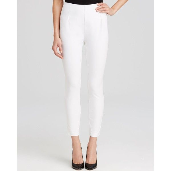 Lysse Twill Cigarette Pants ($98) ❤ liked on Polyvore featuring pants, white, white cigarette pants, twill pants, white trousers, cigarette trousers and lined white pants