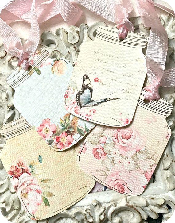 NEW Shabby Mason Jar Gift Tags 8 Wedding Gift Tags-Floral