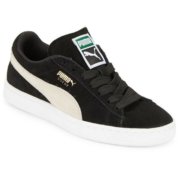 Puma Women's Classic Suede Sneakers (€56) ❤ liked on Polyvore featuring shoes, sneakers, black, lace up sneakers, suede shoes, black shoes, lace up shoes and platform shoes