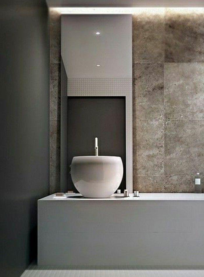 Moderne Waschbecken Design Weiß Braun