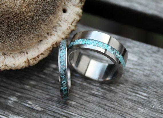 Titanium and Turquoise Wedding Band Set Wedding by RingWithHeart