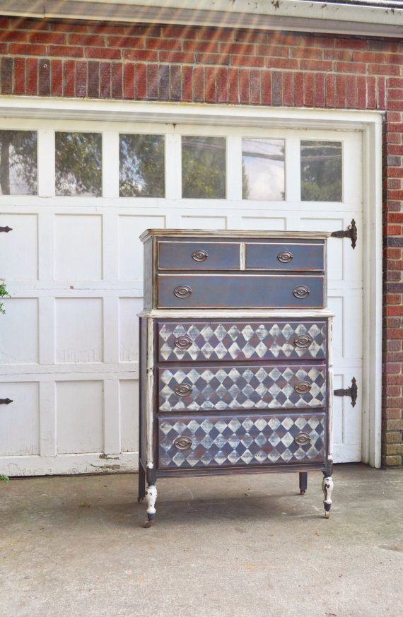 Antique Tall Boy Dresser Using Coast Blue White Black Homemade Chalk Paint Heavily Distressed And Stained Sanded Argyle Harlequin Pattern