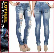 Women skinny jean with full destruction and crinkles in medium blast wash (LOTX325) Best Seller
