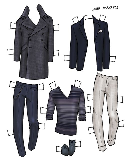 DANIELLE MEDER SS14 Menswear Paper Doll – Paul Smith and JOHN VARVATOS   1