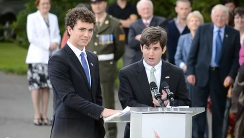 The youngest Kennedys steal the show: The crowd watches the speech of Max (19) and Chris Kennedy Jr (21) in Ireland.