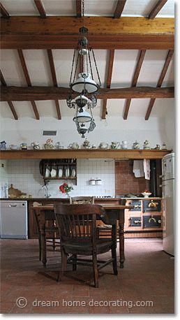 Traditional Tuscan kitchen in an ancient farmhouse