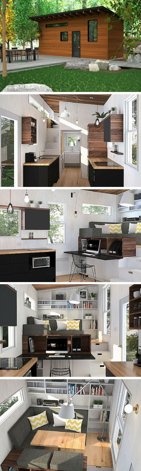 The Atelier Praxis, a modular tiny home manufactured exclusively by Minimalist in Quebec City. A 180 sq ft home with an innovative design to maximize space.