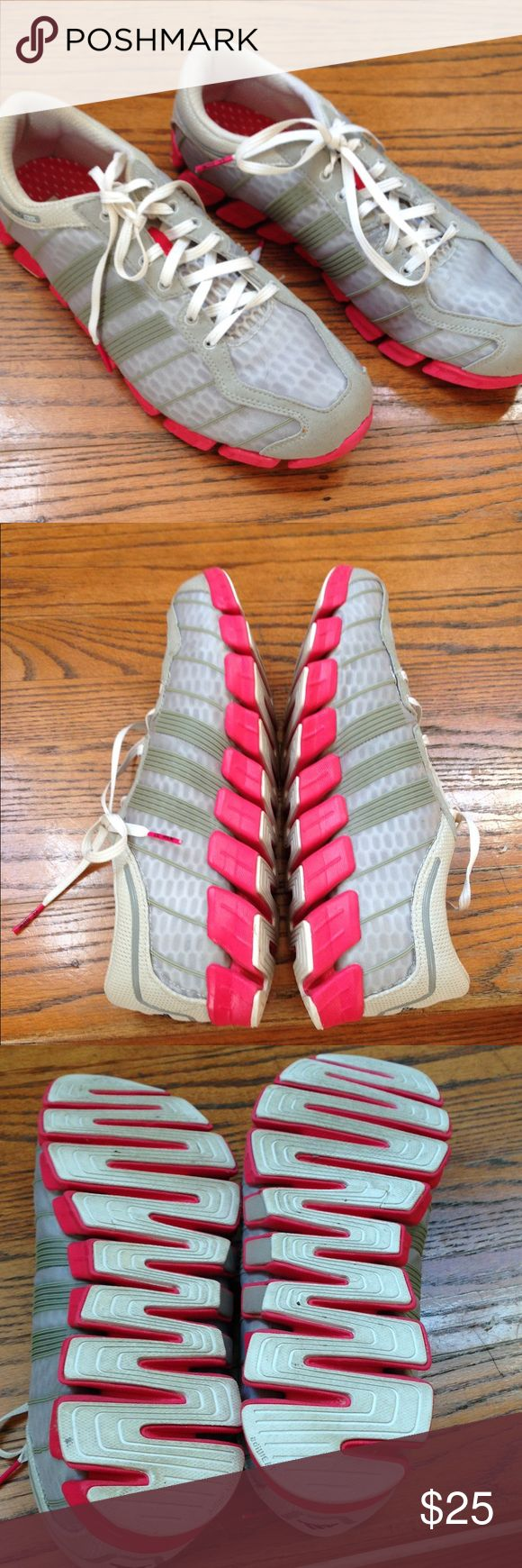 Clima cool running shoes by adidas size 10 Worn once and in perfect used condition running shoes by adidas. Size 10. Grey with hot pink bottom. adidas clima cool Shoes Athletic Shoes