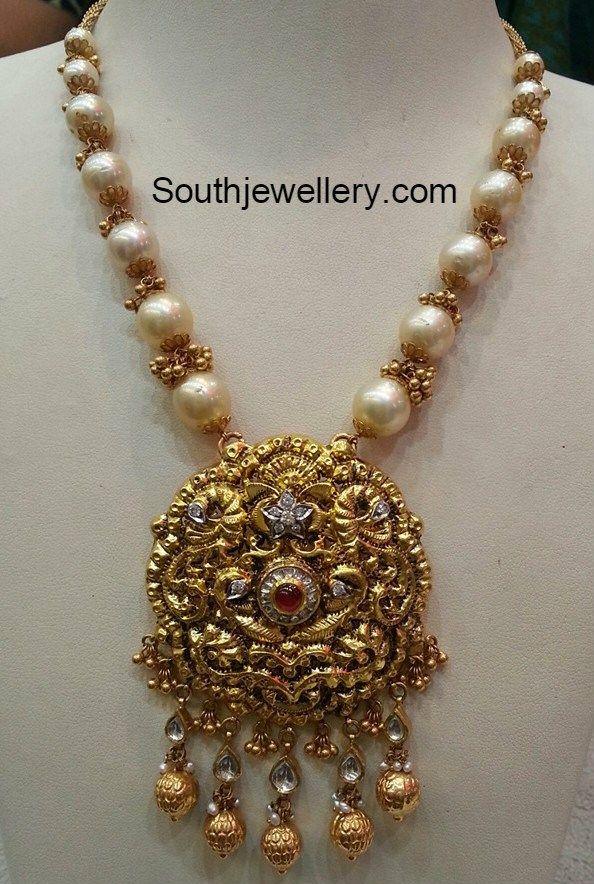 South Sea Pearl Mala with Nakshi Pendant