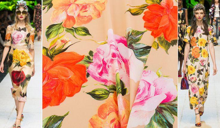 Плательные ткани с цветочным принтом от Dolce&Gabbana