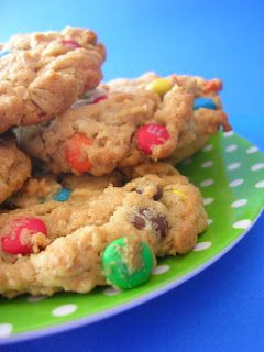 Peanut Butter Oatmeal M&M Cookies - these are delish- nice and chewy ...
