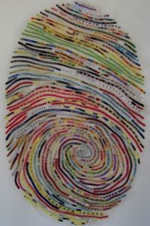 thumbprint self-portrait.. I always wanted to do this with the quilting stitches, never thought of using selvages