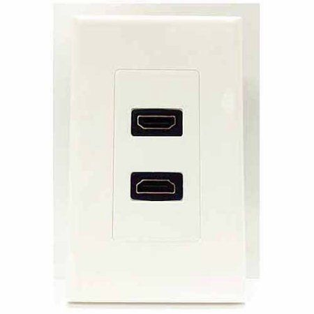 4XEM Dual Outlet Hdmi Wall Plate, White
