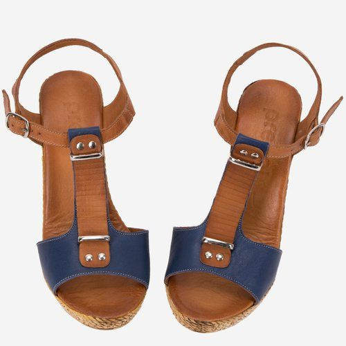 Sandale maro cu bleumarin din piele naturala Elixir