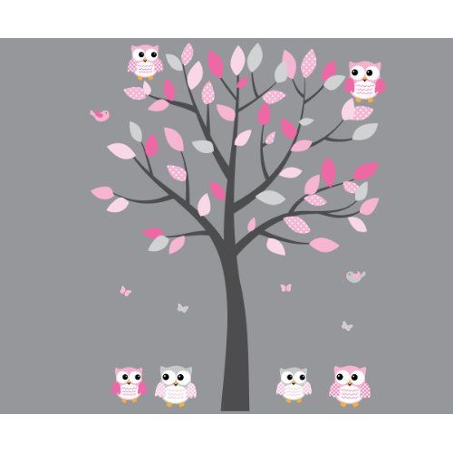 Pink Owl Wall Decal Baby Nursery or Girls Room Gray Pink Vinyl Tree Decal