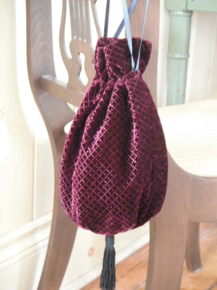 Mediaeval Style Diamond Pattern Wine Velvet Drawstring Bag. $30.00, via Etsy.