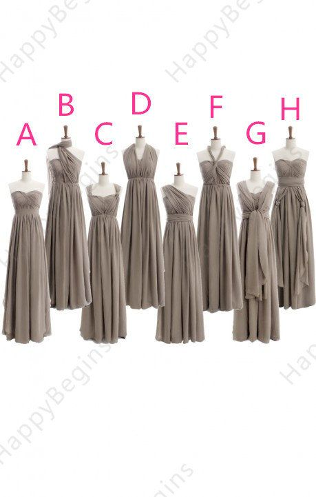 8 styles mismatch bridesmaid dresses Long grey by HappyBegins, $89.00