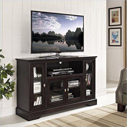 "Walker Edison 52"""" Espresso Wood Highboy TV Stand"