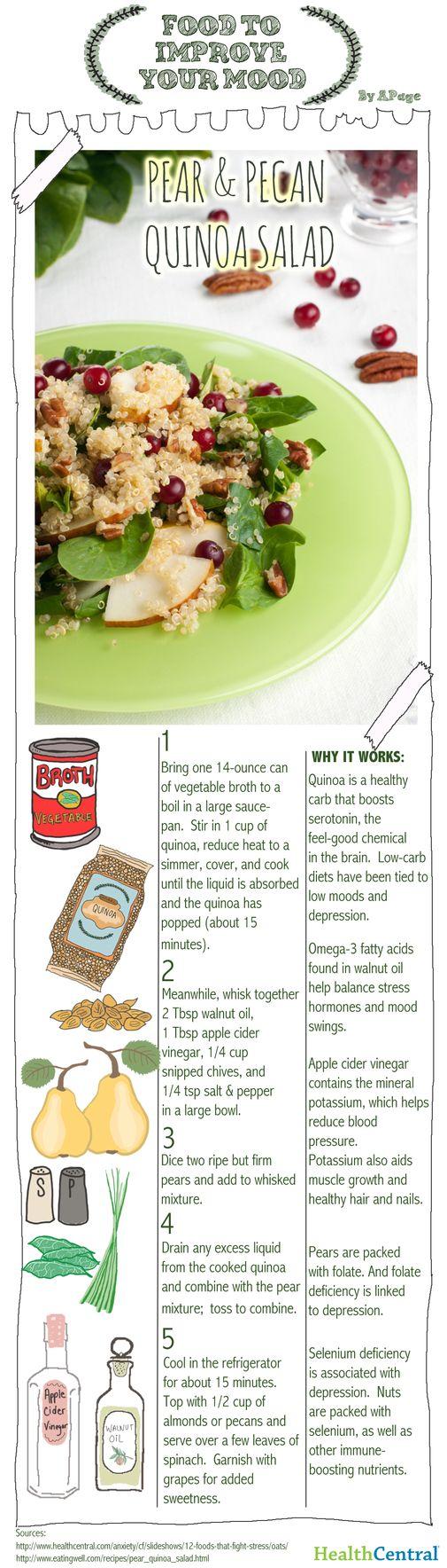 (RECIPE INFOGRAPHIC) Food To Improve Your Mood: Pear & Pecan Quinoa Salad - Prevention - Depression
