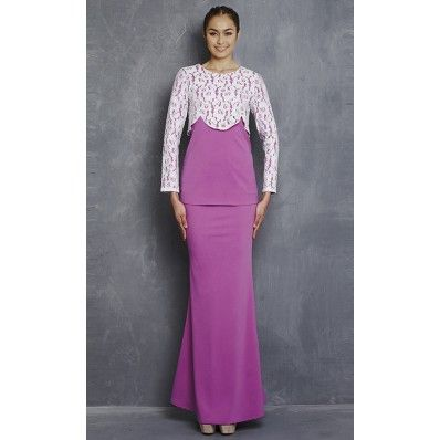 Pari-pari Modern Kurung with Lace Top in Purple