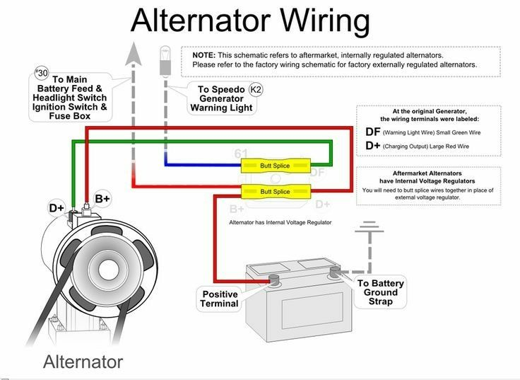 Simple alternator wiring    diagram      Vw parts  Engine repair  Car engine
