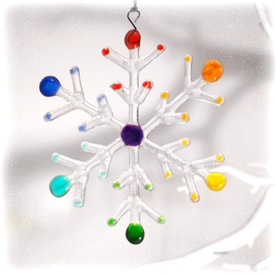 Glass Snowflake Christmas Decoration  Smooth by RainbowLuxGlass