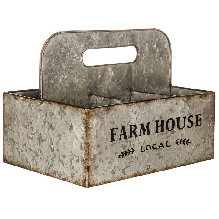 Farmhouse Galvanized Metal Basket with Compartments | Hobby Lobby | 1286053