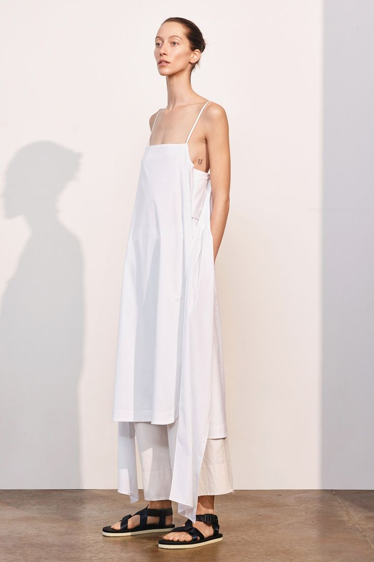 this is going to be my summer outfit - white cotton dress layered flat strappy sandals - Elizabeth and James Pre-Fall 2017 Fashion Show