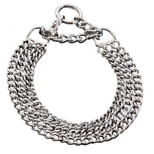 Triple ChokeChain dog Collar 3 Rows Martingale Chrome steel Dog Control Free P&P #FreshdogcatRely