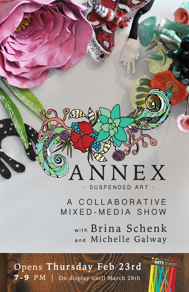 Art Show exhibiting mixed-media by Brina Schenk and Michelle Galway. Annex Suspended Art - at The Arts Station, Fernie, BC.