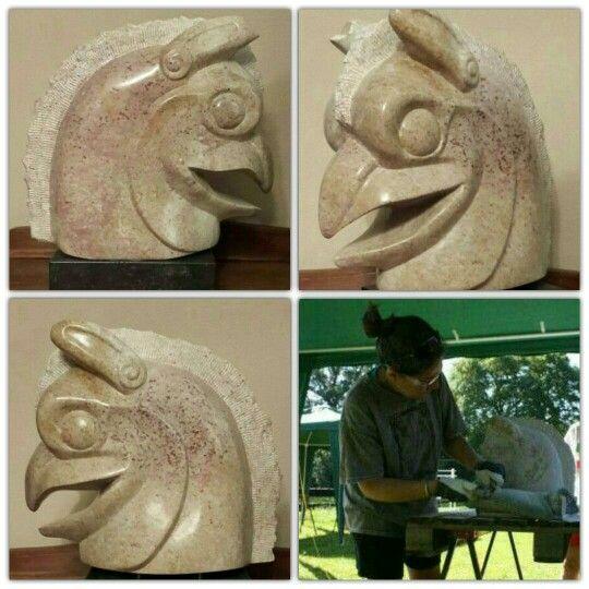 working on my stone, Griffin.  Iraans mythologisch wezen. griffioen