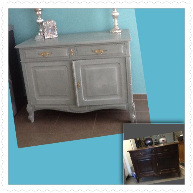 Weer een opknappertje gerealiseerd. Verf: Autentico Chalk paint Troubled Water buitenkant, binnenkant Annie Sloan Chalk paint kleur Provence.