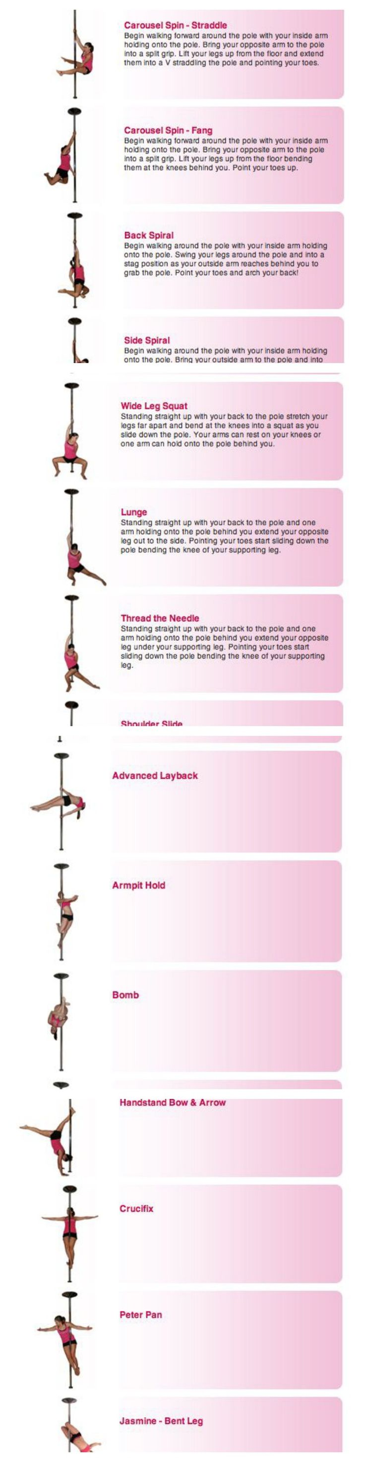 Pole Dancing Moves : Beginner, Intermediate and advanced Moves (Spins, Poses, Floor-work, Slides and Climb). ........ Pole dancing is a great form of exercise and can be used as both an aerobic and anaerobic workout. Jasmine Grace, pole dancing professional, put together this tutorials to educate self-taught pole dancing ....... :)