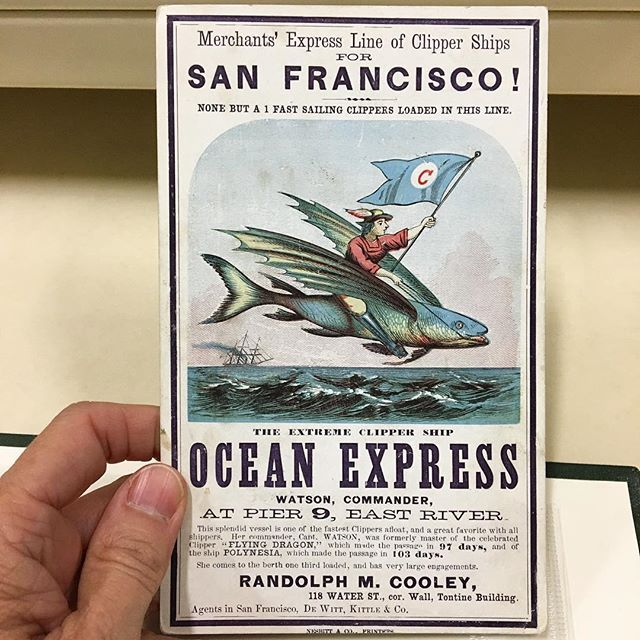 Don't mind us, we're just heading into the weekend on our giant flying fish! This eye-catching clipper ship card advertises the 'Ocean Express' out of New York. The ship travelled to and from San Francisco in the 1840s, bringing East coasters to the west in pursuit of gold during the gold rush. Is that giant flying fish for real? Whale sure -- any fin is possible! (Sorry -- we can't resist a good fish pun! 🐟 🐟 🐟) #ephemera #shipcards #advertising