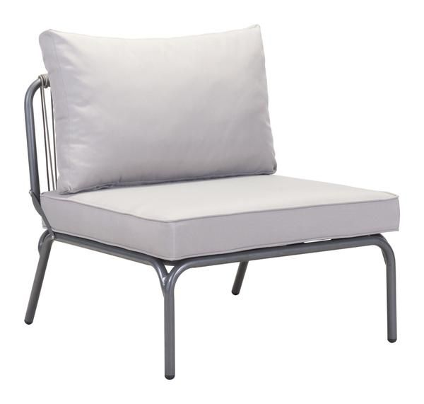 Pier Outdoor Single Armless Chair Sectional Sofa Unit in Gray Aluminum