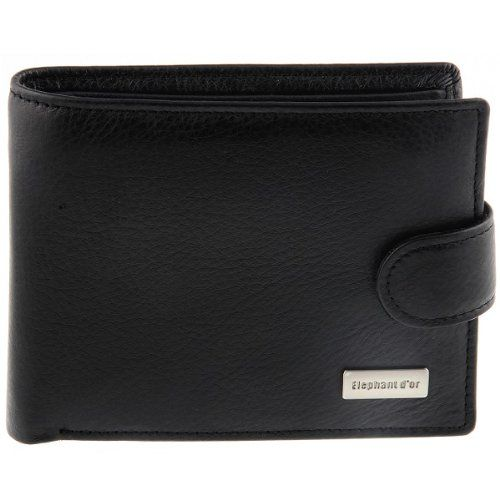 Portefeuille design pour homme Cuir noir WALLET N980