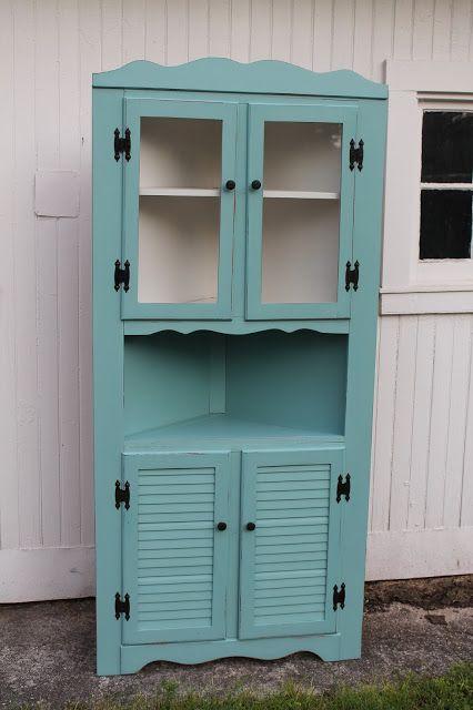 Elizabeth & Co.: Pretty Aqua Corner Cabinet in black  did one in barn red