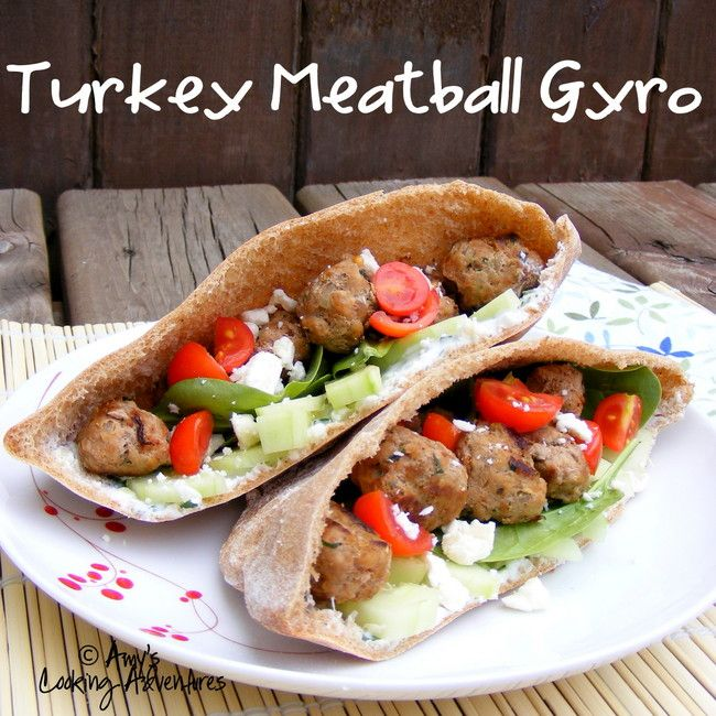 Amy's Cooking Adventures: Turkey Meatball Gyros {SRC}