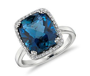 London Blue Topaz and Diamond Halo Cushion-Cut Ring in 14k White Gold #bluenile