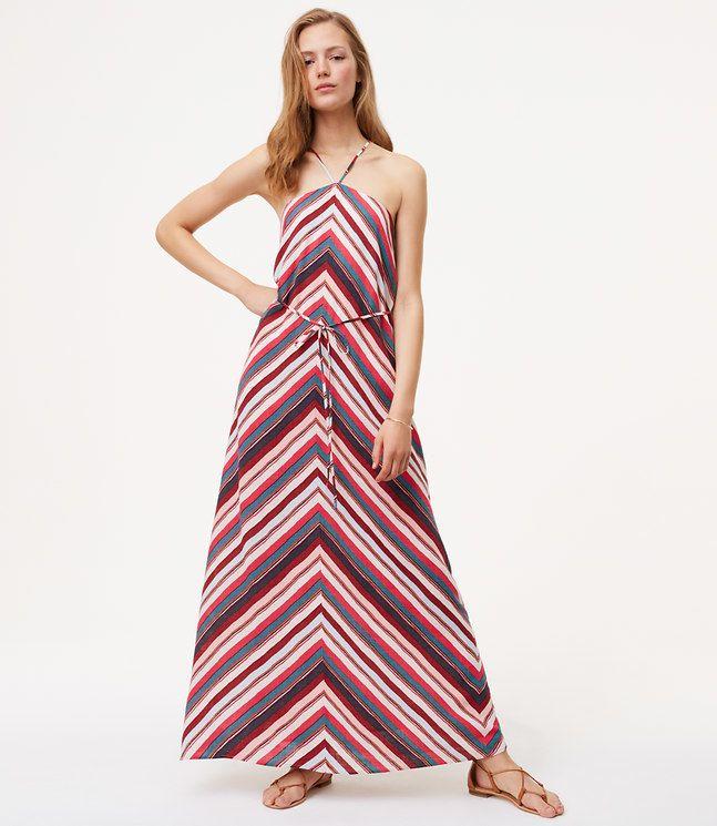 LOFT Petite Chevron Halter Maxi Dress