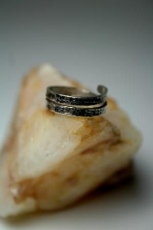 Twisted, oxidized silver ring  Handmade by BurCak