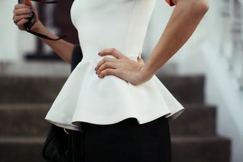 ZsaZsa Bellagio: Black and White Beautiful: Summer Fashion Trends, Shirts, Street Style, Peplum Color Pink, Dresses, Classic White, Peplum Trends, Pencil Skirts, White Peplum Tops