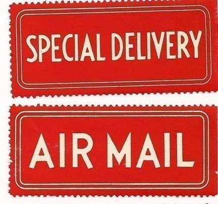 Vintage mailing labels via ImagineArt7's Etsy shop.